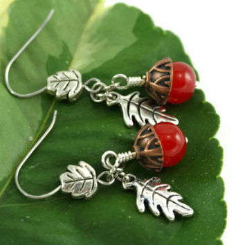 Acorn Earrings, Red Silver Copper, Dangle Acorn Earrings, Acorn Charm Earrings, Wedding Bridal Jewelry, Whimsical Jewelry