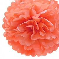 """Fonder Mols Pack of 5 10"""" and 14"""" CORAL Party Tissue Paper Pom Poms Flower Ball Wedding Bridal Shower Party Decoration"""