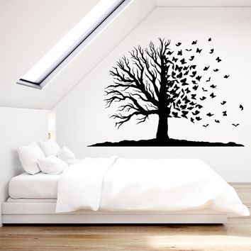 Vinyl Wall Decal Magic Fairy Tree Butterflies Branch Nature Stickers Unique Gift (1848ig)