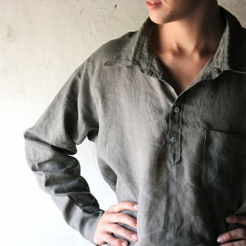 Men's Shirt, Linen shirt, Classic shirt, Long sleeve shirt, Mens clothing, Womens Shirt, Custom shirt, Grey Linen shirt, Clothes for men