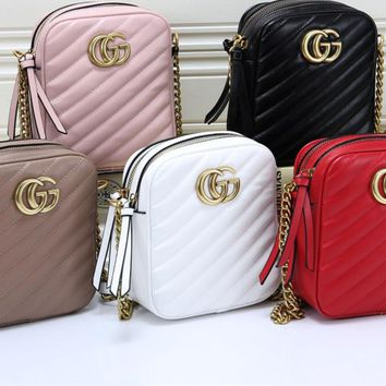 """Gucci"" Fashion All-match Letter Logo Metal Chain Single Shoulder Messenger Bag Women Small Square Bag"
