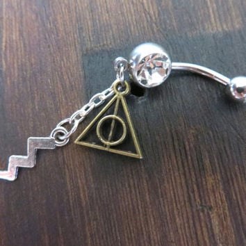 Belly Button Ring Lightning Bolt Deathly Hollows Triangle Navel Piercing Body Jewelry Harry Potter Symbol