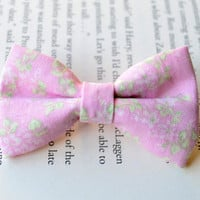 Pink Bow Clip, Floral Bow, Floral Print, Pink Hair Accessories, Party Favors, Birthday Gift, Little Girl Hair Clips
