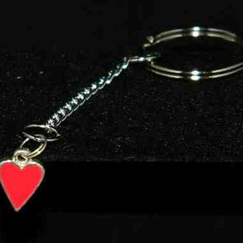 Red Metal Heart on Silver Chain with Silver Key Ring
