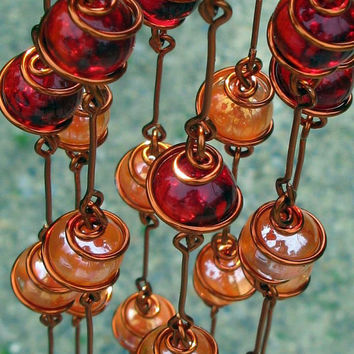 Tequila Sunrise Ombre Suncatcher with Copper Wrapped Ruby Red, Orange Cat's Eye, Yellow & Clear Glass Marbles, Home Decor