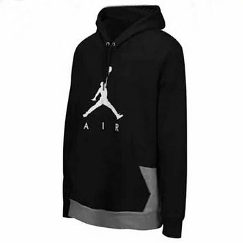 Nike Jordan Fashion Print Sport Casual Pullover Top Hoodie Sweater Black I-A-XYCL