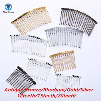 MINGXUAN 10pcs/lot 12/15/20teeth Gold/Silver Color Hairpin Wedding Hair Accessories Metal Bridal Hair Combs DIY Jewelry Findings