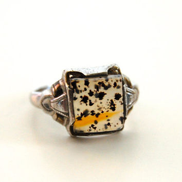 Antique Victorian Dendritic Agate Ring, Sterling by Ostby and Barton