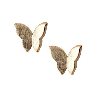 Handcrafted Brushed Metal Butterfly Stud Earrings
