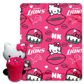 Lions  40x50 Fleece Throw and Hello Kitty Character Pillow Set