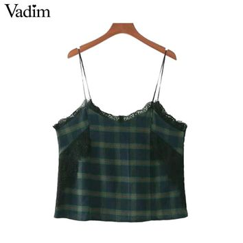 Sexy Lace Patchwork Plaid Tops Spaghetti Strap Checkered Sleeveless Shirts Vintage Ladies Casual Vest