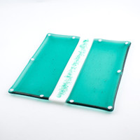 Sea Green Fused Glass Plate, Serving Platter, Square Design, Glass Tray, Kitchen Accessories, Teal Home Decor, Unique Hostess Gifts