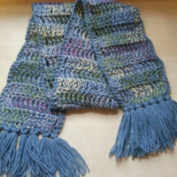 Handmade Winter Accessories Crocheted Multi Colored Scarf in Shades of  Blue/ Gray/Green/Lavender/Cream for Woman or Man
