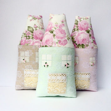 Mint Pink nursery toy, Fairy House pillow, plush house. Mint Shabby chic toy for a nursery. Great gift for baby shower, birthday, etc.