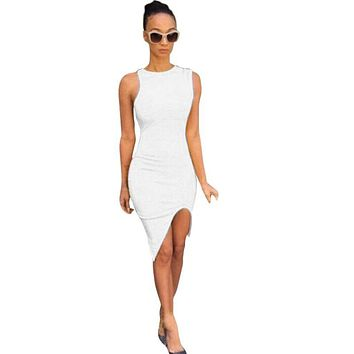 Sexy Summer Vestido Women Casual Sleeveless Dresses Short Bandage Bodycon Dress Vestido Plus Size