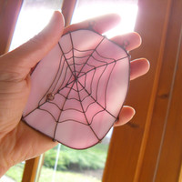 Christmas gift suncatcher pink white stained glass copper wire artistic ornament Spider web