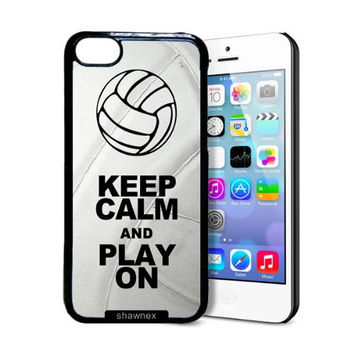 Shawnex Volleyball Keep Calm Play On Volleyball Player iPhone 5C Case - Thin Shell Plastic Protective Case iPhone 5C Case