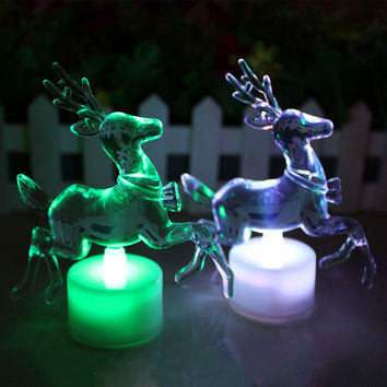 1pc Christmas Reindeer LED Lamp Colorful Acrylic Double Flash Colorful Night Light LED Light For Holiday (Changing Color)