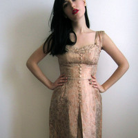 1950's Evening Dress Pink Champagne by tomorrowisforever on Etsy