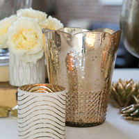 """Glass Floral Vase in Rose Gold - 7.5"""" Tall by 6"""" Diameter"""