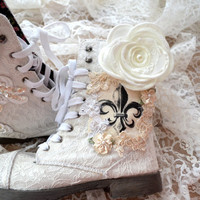 Combat boots, Embellished lace boots, winter white, farmgirl, fleur de lis, shabby country, romantic shoes, altered, true rebel clothing,