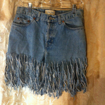 Bohemian Hippie Fringe Shorts / Upcycled Cut Up Slashed Shorts / Eco Distressed Cut Jean Shorts /  Handmade Fringe Clothing / by TatteredFX