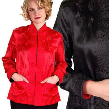 Vintage Ladies Reversible   Red Rayon Satin Damask Evening Jacket 1950S M-L