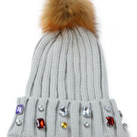 Gray Faux Diamond Embellished Pom Pom Beanie Hat