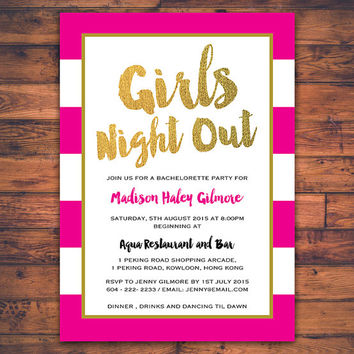 Bachelorette Party Girls Night Out Invitation Card Hen Party Digital Print Printable Modern Minimal Fun Invite Card