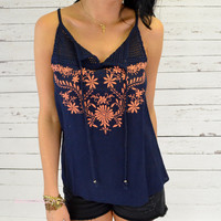 Sandy Springs Navy Embroidered Tank