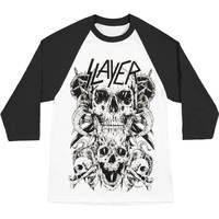 Slayer Men's  Skulls Baseball Jersey White