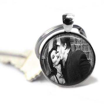 Lily and Herman Munster Keychain