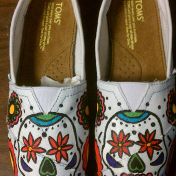 Custom Hand Painted Sugar Skulls TOMS by jordanforrest on Etsy