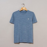 Polo Ralph Lauren Short Sleeve Custom Fit Tee (Delta Heather Blue | Oi Polloi