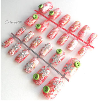"""Ugly Christmas Sweater Nail Art Nordic Knit red green white 3d artificial snow snowflake decor knitwear crochet """"look"""" fake caviar"""