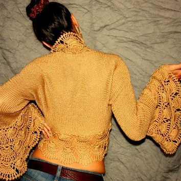 Hot Chocolate / Knitting Crochet Caramel Shrug by lilithist
