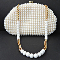 Candy Dot Bead Purse White Handbag Made Hong Kong