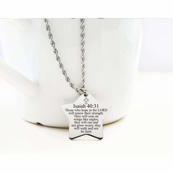 Star Tag Necklace - Isaiah 40:31