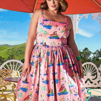 Pinup Couture Plus Size Jenny Dress in Neverland Print