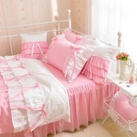 White Pink Korean Princess Bedding set Rural Floral Print Duvet Cover Cotton lace Ruffle Bowknot Bed Skirt Queen Bed in a Bag 4pcs