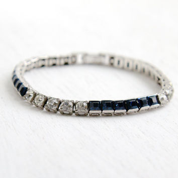 Antique Art Deco Sapphire Blue & Clear Rhinestone Bracelet- Vintage 1930s 1940s Sterling Silver Formal Jewelry Hallmarked Otis