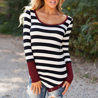 Stripe Color Block Long Sleeves Knit Tee