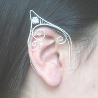 Silver Plated Handmade Wire Wrapped Elf Ear Cuffs With Clear Swarovski Elements. Wire Weave, LARP, Fantasy Wedding, Cosplay