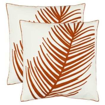 "2-Pack Embroidered Orange Feather Toss Pillows (18x18"")"