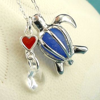Sea Glass Necklace Turtle Locket Cobalt Blue Heart
