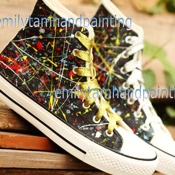Graffiti Converse Sneakers,Custom Converse, Fashion Shoes in Punk Rock Style