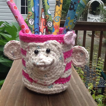 Pink striped girl monkey cup koozie crochet cotton, pencil cup, drink holder, can cozy or organizer