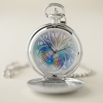 Floral Fantasy, Colorful Abstract Fractal Flower Pocket Watch