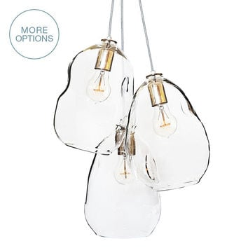 Bubble Hand Blown Clear Glass 3 Pendant Chandelier