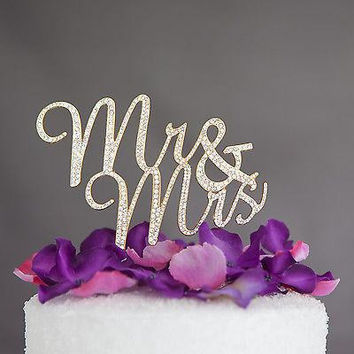 Mr & Mrs Cursive Cake Topper - Gold